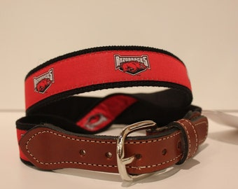 University of Arkansas  Men's  Web Leather Belt