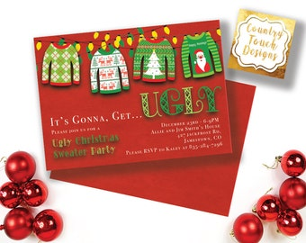 Ugly Tacky Sweater Party Invitation Christmas Holiday Red Green Digital Download Professional Printing