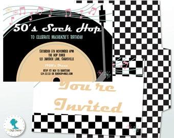 1950's Diner Sock Hop Printable Party Invitation, Instant Download