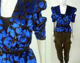 80s Avant Garde lurex panne burnout velvet puff sleeve silk jacket