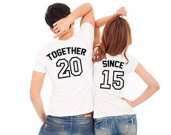 Together Since, Download, Stamp Design, x2 Couple T-Shirts STAMP SET, couple, Gift For him, Gift For her, Gift for Couple, Lovers