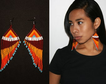 Southwestern Beaded Feather Earrings, Tribal Fashion Earrings, Native American Beaded Earrings, Seed Bead Earrings, Long Dangle Earrings