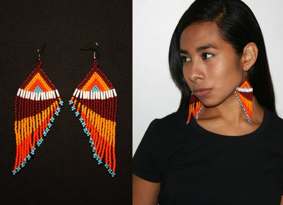 Southwestern Beaded Feather Earrings, Tribal Fashion Earrings, Native American Beaded Earrings, Seed Bead Earrings, Long Dangle Earrings