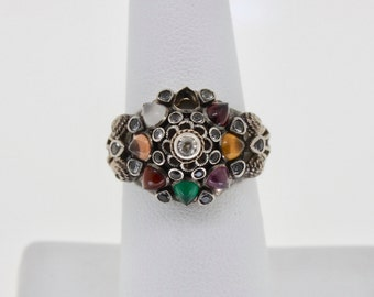 Vintage Ladies 14K Gold Ring Harem Princess Cluster Tiered Multi Gemstones