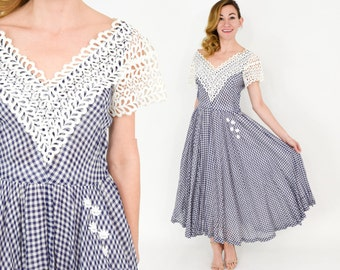40s Gingham Dress | Blue White Lace Full Skirt Tea Party Dress | Colleen Originals | Small
