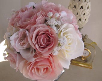 beautiful  Silk Flower Bridal bouquet flower girl bouquet -  light pink roses and white roses bouquet.