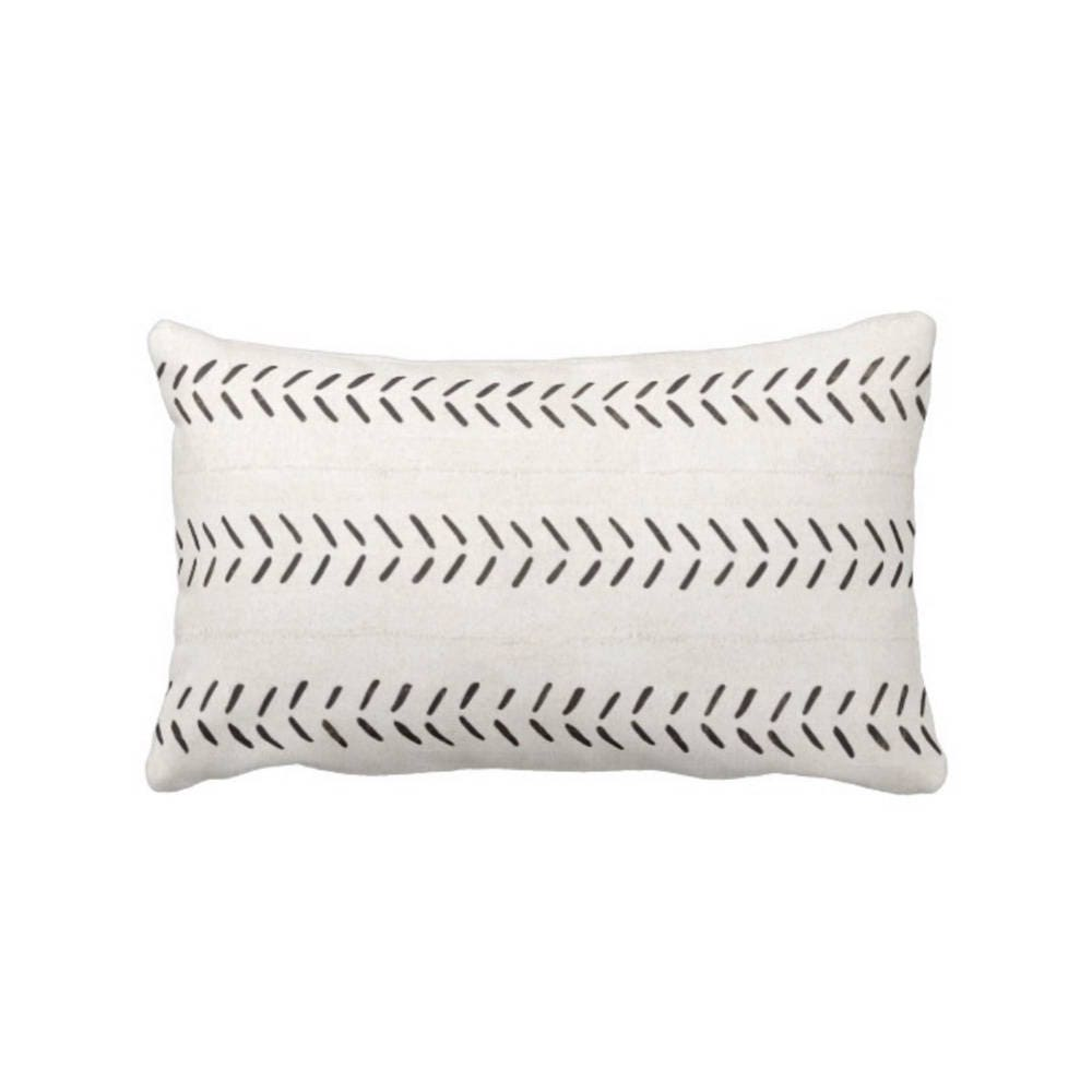 off white throw pillow. mud cloth print throw pillow, boho/ethnic off-white \u0026 black geometric arrows printed 13 x 21\ off white pillow