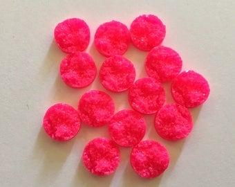 12mm Druzy Cabochons, Neon Pink, jewelry making kit, earring set, diy jewelry, druzy studs, 12mm Druzy, cabochon, stud earrings, pink