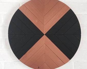 "16"" Black & Metallic Copper Wood Art Round - Wall Art - Wall Hanging"