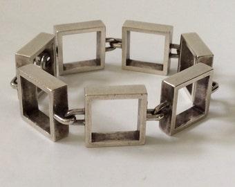 RARE Hans Hansen Modernist Sculptural Sterling Silver Square Link Bracelet