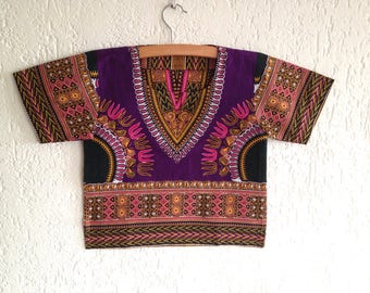 African Wax Purple Dashiki Tunic for kids