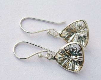 925 Sterling Silver Rock Crystal Quartz Concave Cut Trillion Earrings / Bezel Set Gemstone Earrings Bridal Earrings, Weddings