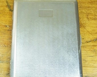 Vintage silver coloured City cigarette case gift for him engine turned box tin 1940s 1950s smoking