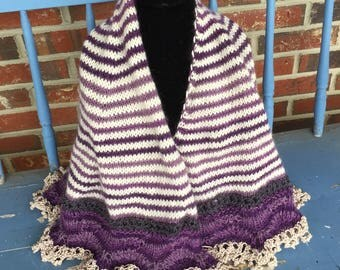 Ready to ship!!!  Knitted purple and cream summer shawl with lace edging,  perfect for weddings, graduations, gift