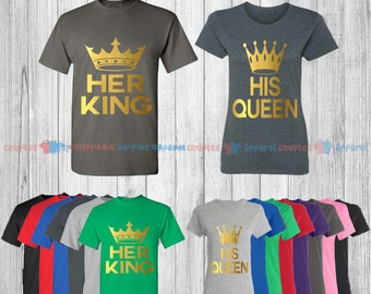 Her King & His Queen - Matching Couple Shirts - His and Her T-Shirts - Love Tees