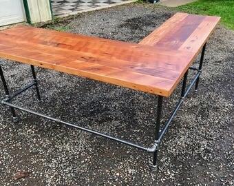 L-shaped Desk. Black iron pipe L-shaped desk. Reclaimed wood desk. Industrial desk. Corner desk. Old desk. Rustic Desk.