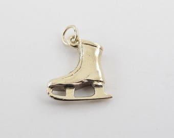 14k Yellow gold Ice Skating Boot Charm - 14k Yellow gold Vintage Ice Skating Boot pendant