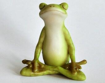 Fairy Garden  - Yoga Frog - Lotus Pose - Miniature