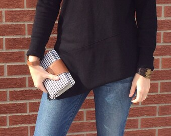 Black and White Wristlet Wallet with Strap