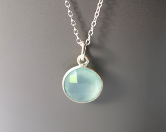 Sterling Silver Bezel Sea Green / Blue Chalcedony Necklace With Faceted Bezel Set Stone 11mm with Sterling Silver Chain