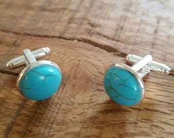 Turquoise cufflinks, birthstone cufflinks, gift for him, birthday gift, December birthday, anniversary gift, wedding cufflinks, Fathers Day