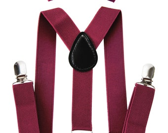 AXY children Maroon braces + Ruby-colored fly - groomsmen - ring bearer outfit - photo-shooting - birthday