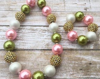 Pink Green and Gold Bubblegum Necklace, Kids Stocking Stuffer, Pink and Green Chunky Necklace, Toddler Bubblegum Necklace and Bracelet