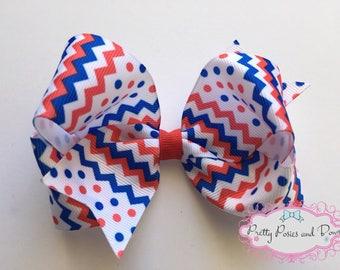 Red White and Blue Hair Bow, Chevron Hair Bow, Patriotic Hair Bow, Chevron Bow, Patriotic Bow, Polka Dot Hair Bow