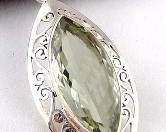 PRASIOLITE AMETHYST pendant GREEN gem stone, jewelry, minerals, f200.2