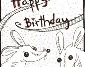 Print birthday card with envelope, Cute Whimsical, Cutesy, Pet Rat Fancy Rat, Nursery Art, Kawaii, Children's Art, Cute Pets