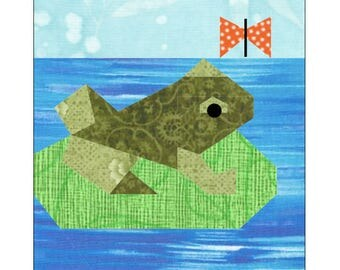 Frog Quilt Block Paper Pieced Pattern