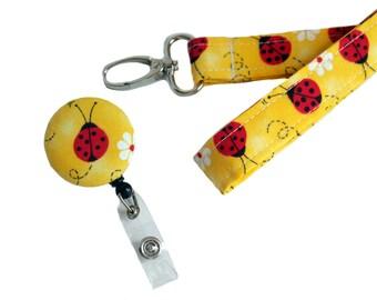 Lady Bug Lanyard and Badge Reel Combo - Cute Lanyard - Yellow Lanyard - Nurse Badge Reel - Yellow Badge Reel - Retractable Badge Reel