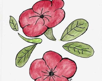 Original Art - Simple Red Flowers - Watercolor Pencils and Ink Drawing