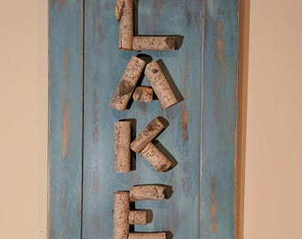 Sign - LAKE Wall Sign - Made from Birch Tree - Wall Hanging - Art