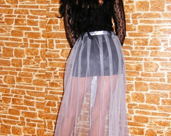 Cherry Red or Ligth Gray Tulle Train Tulle Tail Overskirt Overlay Skirt