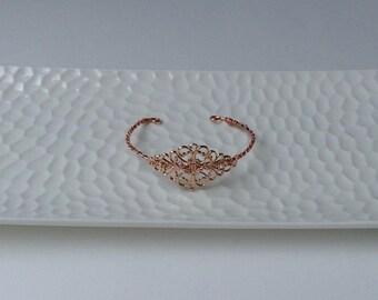 Rose Gold Filigree Bracelet, Boho Bracelet, Bridal Bracelet, Bangle, Gift For Her, Bridesmaids Gift, Wedding Bracelet, Adjustable, Jewelry