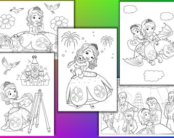 Princess Sophia Coloring Pages Birthday Party Favor Instant Download PDF File