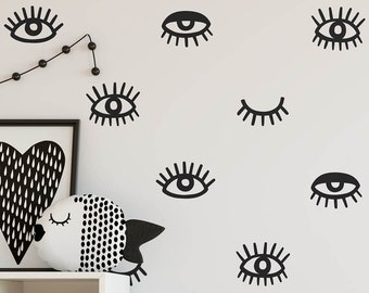 Eye Wall Decals - Eyelash Decals, Vinyl Wall Decals, Modern Wall Decals, Unique Wall Stickers