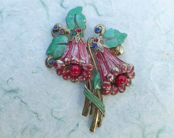 Floral Bouquet brooch with dangles AB929