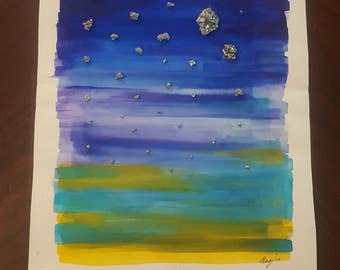 Sunset with the Stars - Original Watercolor Painting & Pyrite on Hemp Paper