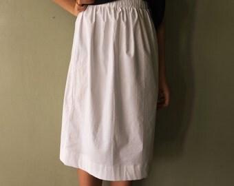 White Cotton Skirt - Stretch Cotton Skirt - White Midi Skirt - Ivory Cotton Skirt - Elastic Waist Skirt - Summer Skirt - Modest Skirt
