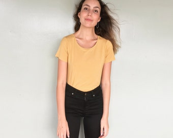 Modal Jersey Tee -Yellow T Shirt - Viscose Jersey Tee - Drapey Tee - Fitted Tee - Mustard T Shirt - Curved Hem Tee - Modal T Shirt - Eco Tee