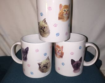 Kitty Cat Coffee Cups; Set of 3 Cat Coffee Cups featuring a Yellow Tabby, a Siamese, and Another little Kitty;