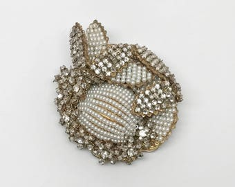 Vintage Signed Miriam Haskell Rhinestone & Seeded Pearl Pin Brooch