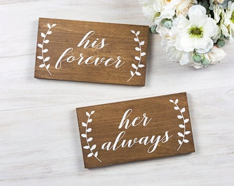 Rustic Wedding Decor- Wedding Chair Signs- His forever Her Always- Outdoor Wedding Decor-Rustic Wooden Wedding Sign- Boho Wedding Decoration