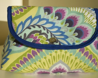 Handmade makeup bag with attached brush roll, mandala style canvas cotton.