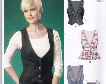 """McCalls 9010 """"Easy Stitch 'n Save"""" size 14-22 for front button, v-neck vest, waist seam & darting for great fit! Peplum, collar, notched hem"""