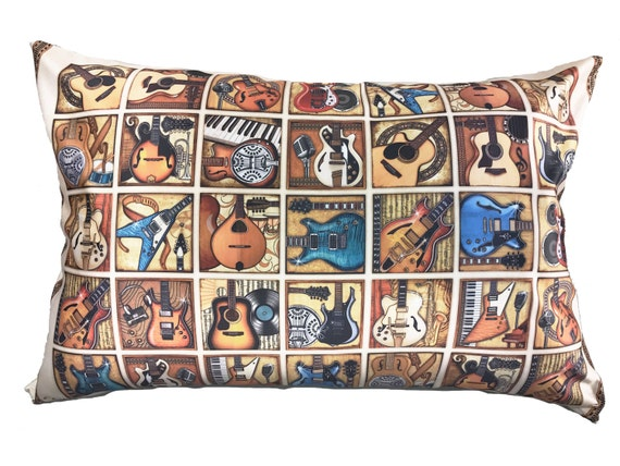 guitar pillow case cool satin fabric fits both standard and. Black Bedroom Furniture Sets. Home Design Ideas