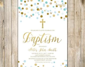 BLUE and Gold BAPTISM Invitation, Printable Boy Baptism Invite, Baby Boy Holy Communion Invites, Boy Christening Christian LDS, Digital LA20