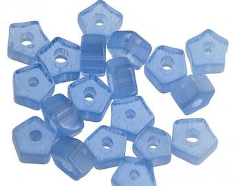 Vintage blue satin glass pentagon spacers. 3x5mm. Pkg of 25. b11-bl-1009(e)